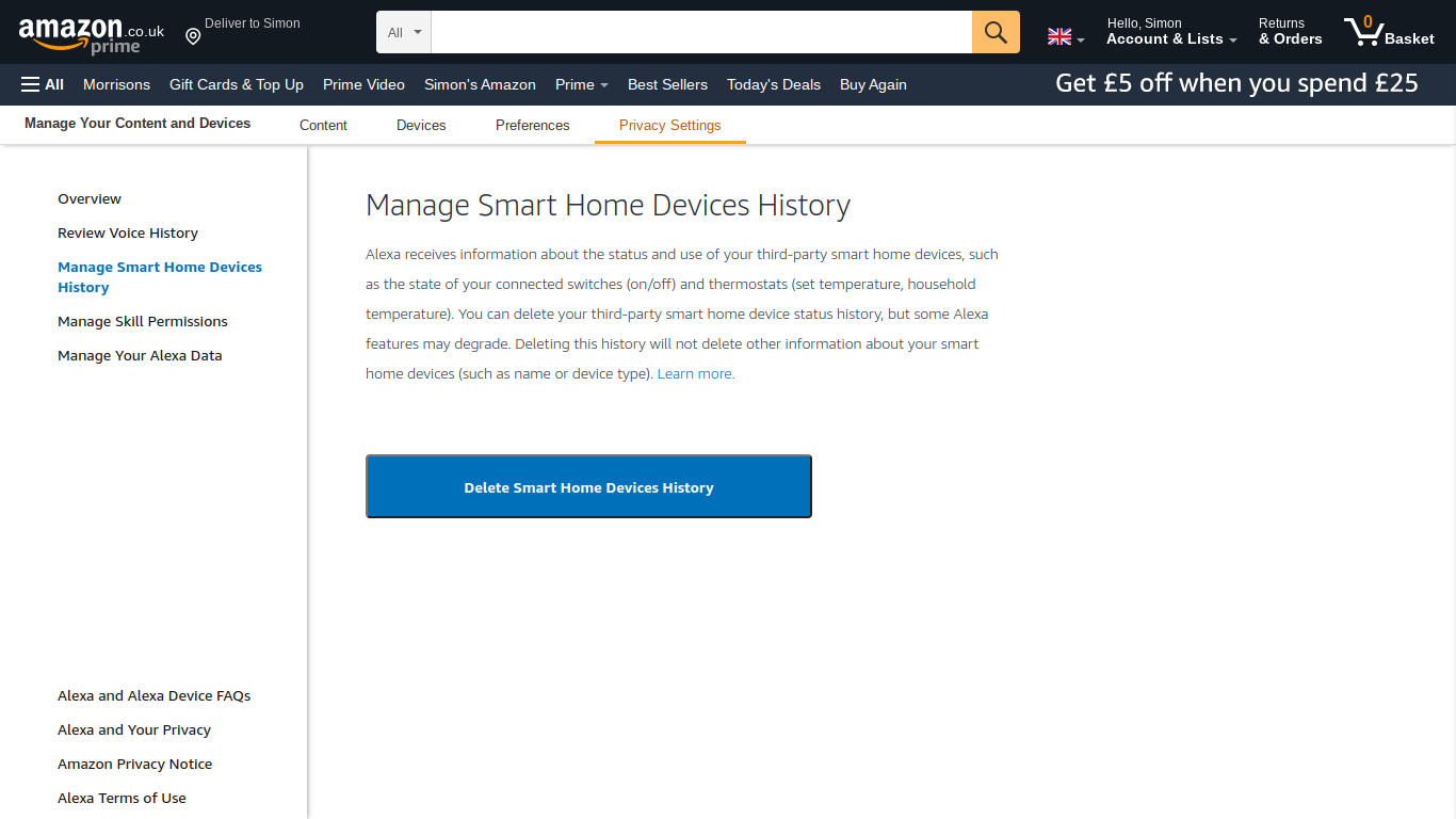 Delete smart home device history in Alexa