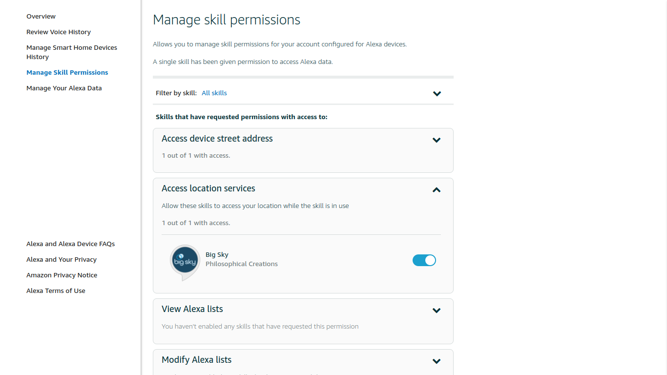 Manage skill permissions in Alexa