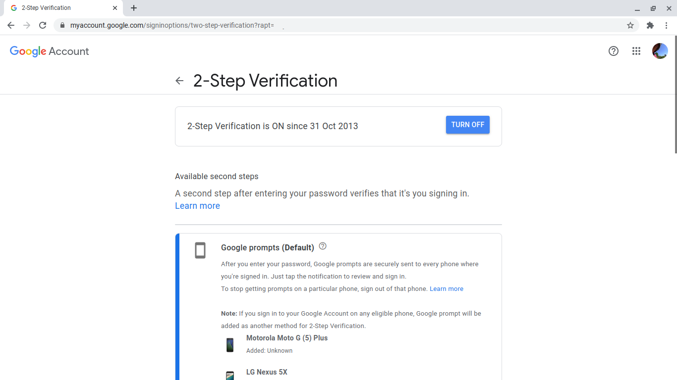 2FA enabled in Google