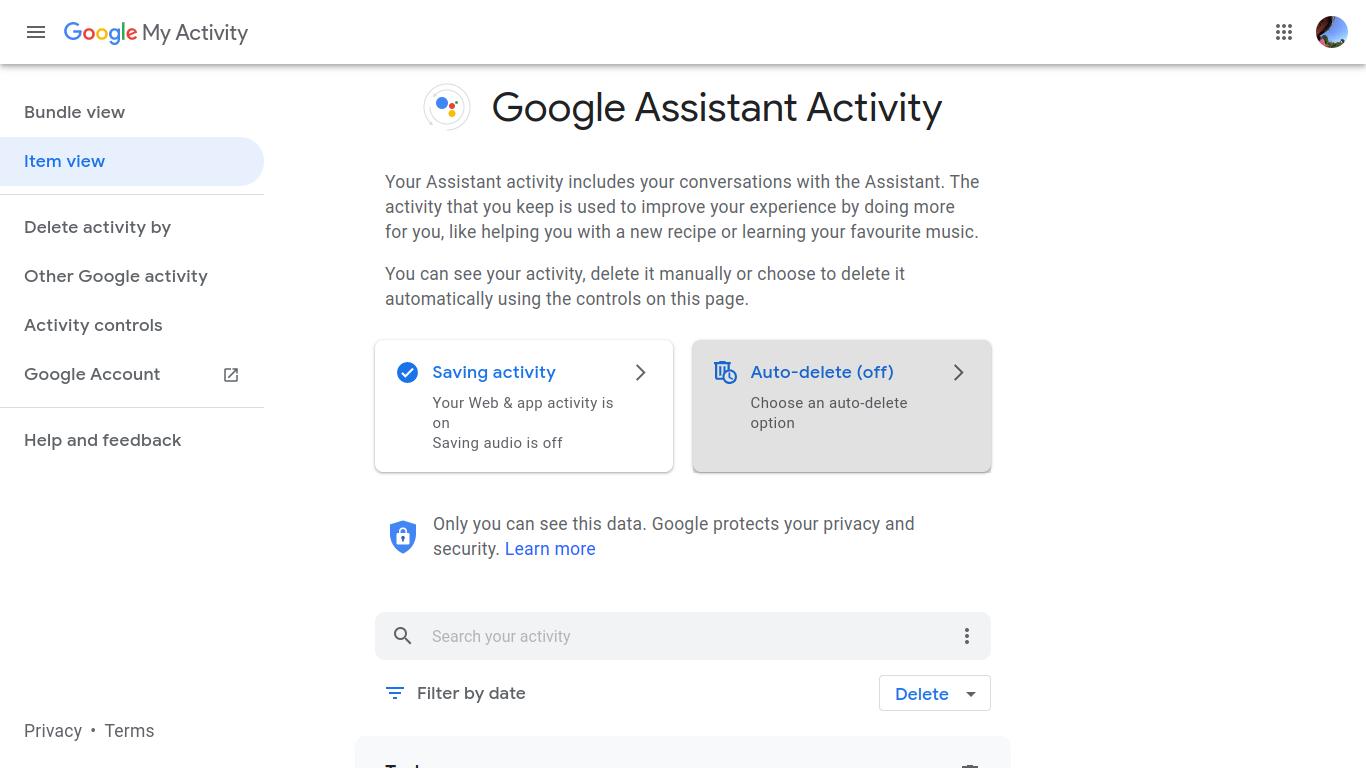 Google Assistant history settings