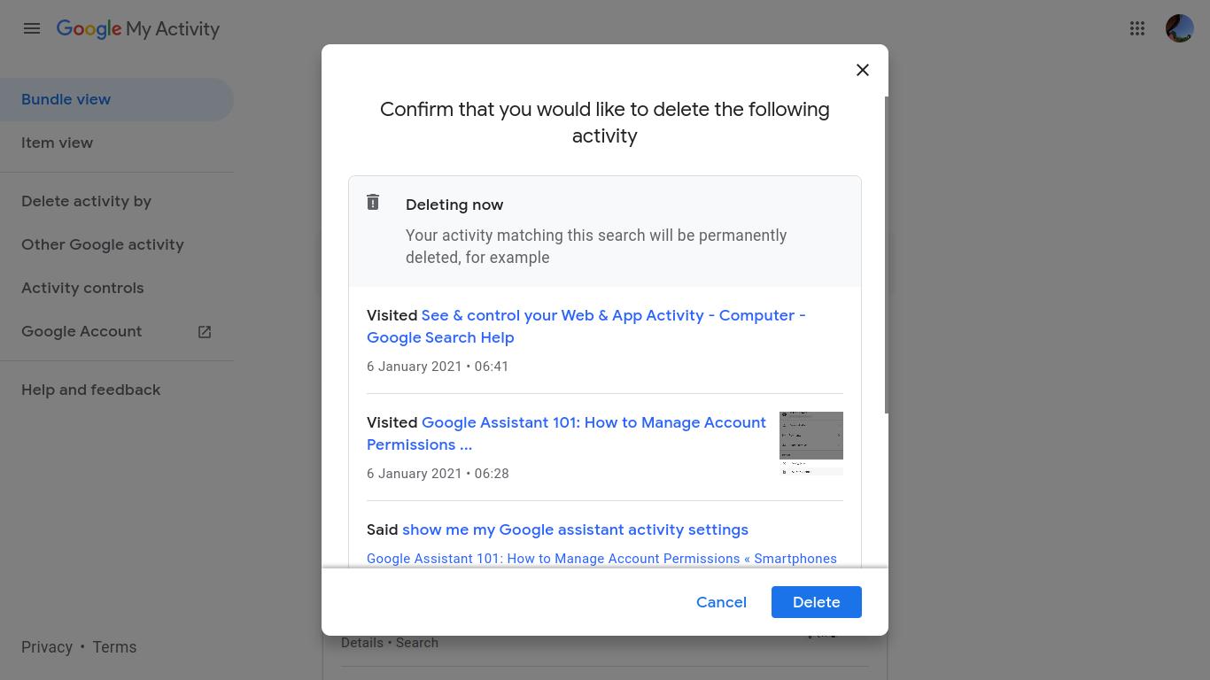 Google Assistant Confirm Deletion