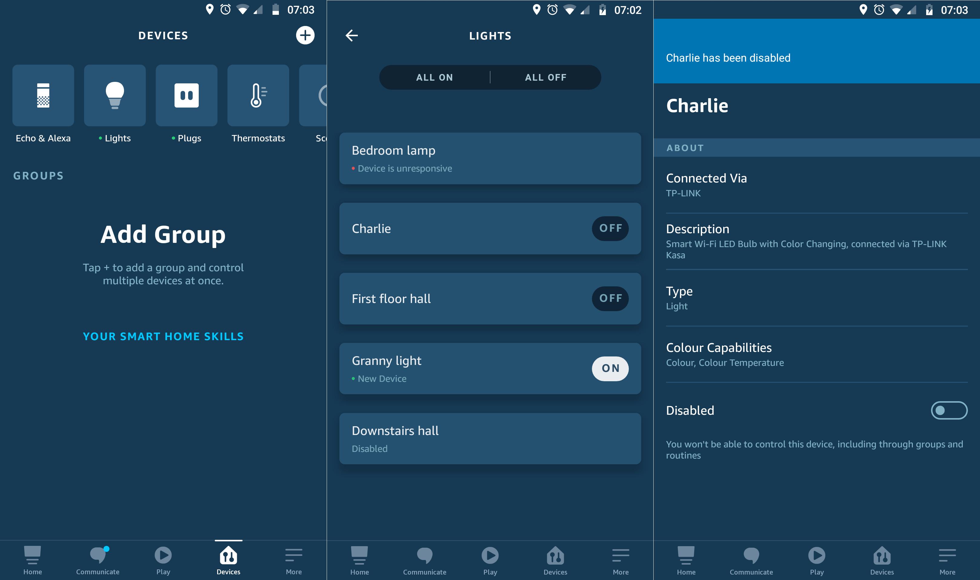 Disable device Alexa app