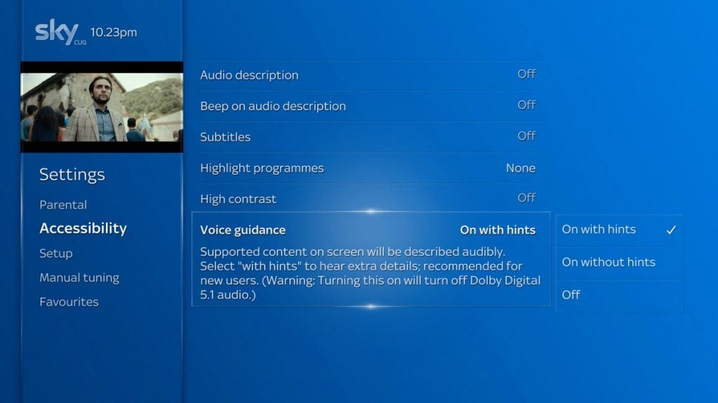 Voice Guidance feature on the Sky Q platform