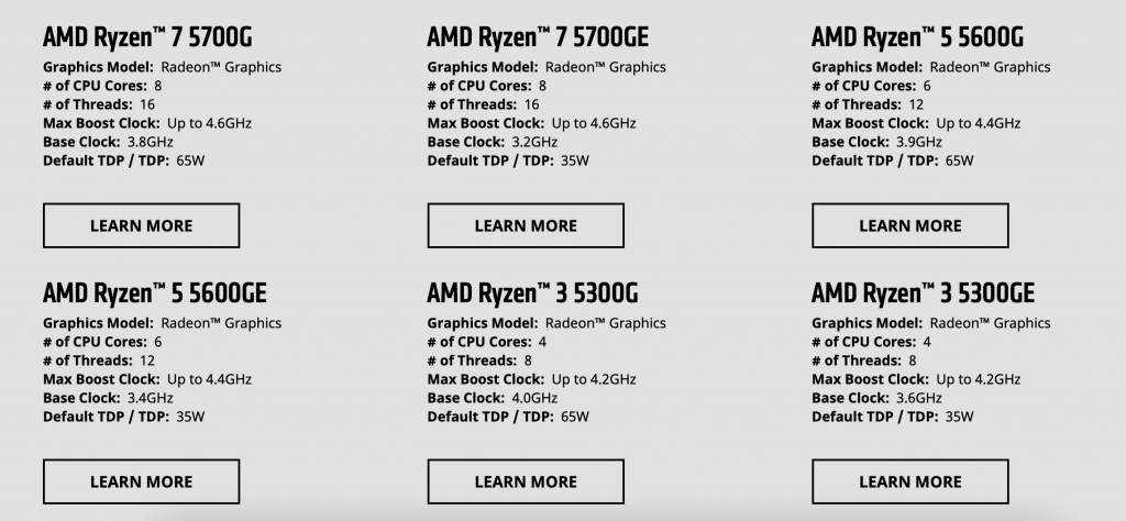 AMD Ryzen 5000 with integrated GPU