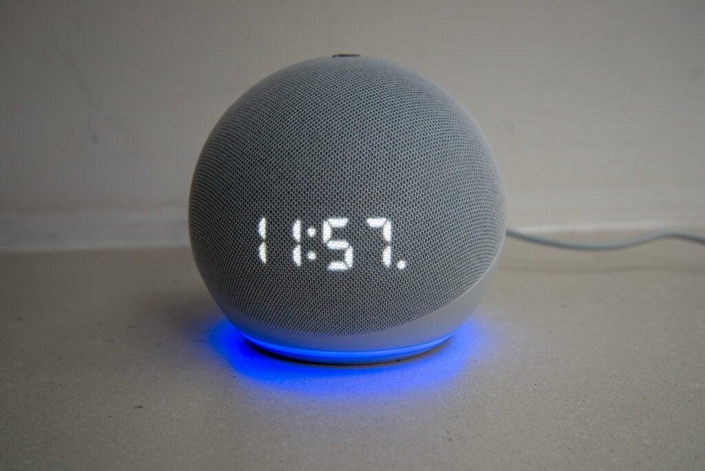 Amazon Echo Dot with Clock (4th Generation) alarm set