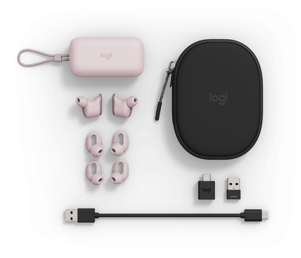 Logitech Zone Wireless earbuds Rose and Black