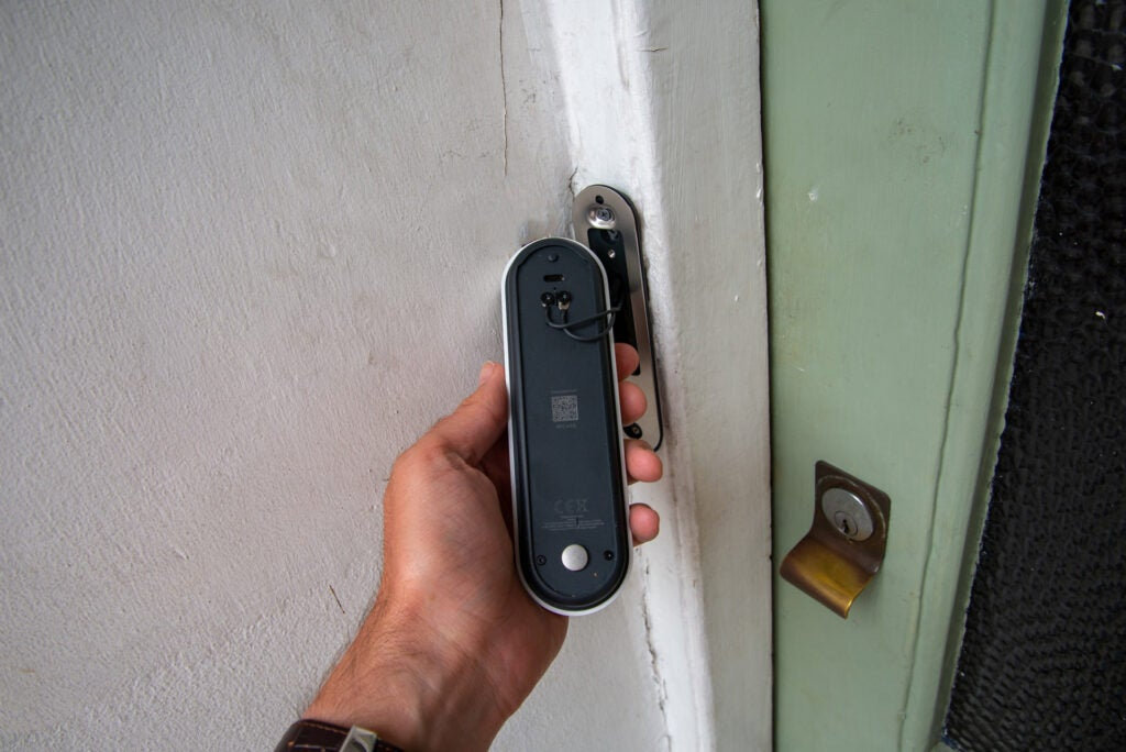 Nest Doorbell (battery) wires at the back