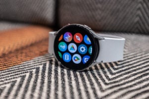 Galaxy Watch 4 with white strap front on