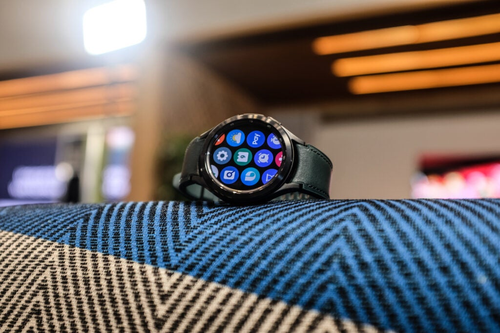 Galaxy Watch 4 Classic with green strap front on