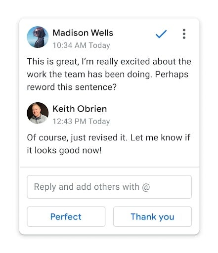 Smart reply in Google Docs