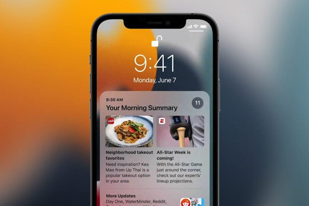 iOS 15 running on an iPhone