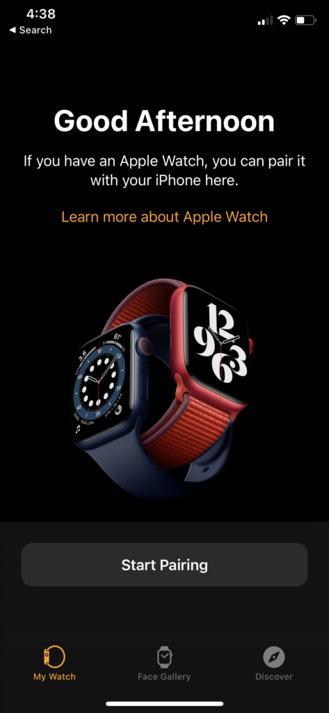pair Apple Watch start pairing
