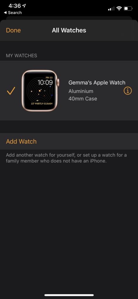 unpair Apple Watch press i